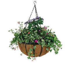 Black Hanging Flower Basket with Coco Mat