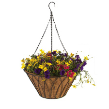 Wire Hanging Basket With Coco Liner and Chain